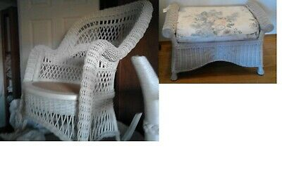 Vtg White Wicker Rocking Chair Ornate Henry Link Ottoman EXCELLENT Condition
