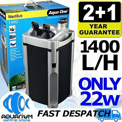 Aqua One External Nautilus Canister Sponge Fish Tank Pond Water Filter 1400 LPH