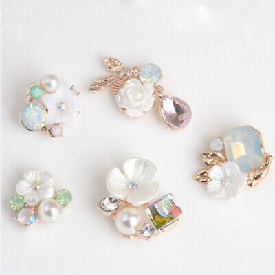 Plating Apparel Sewing Pearl Buttons Rhinestone Button Flower Buckle For 10PCS