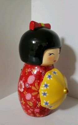 "Vtg 6"" Tall CERAMIC JAPANESE KOKESHI DOLL Coin PIGGY BANK Kimono Girl JAPAN MADE"
