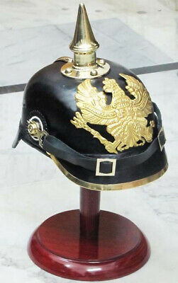 German Prussian Leather Pickelhaube Helmet Wwi Imperial Officer's Fr Helm +Stand