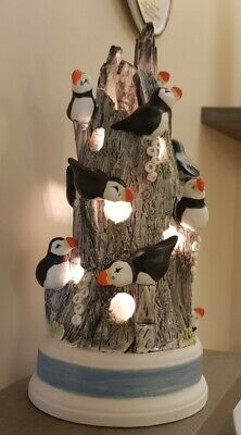 Huge Porcelain Puffin Rock lamp hand crafted irish made porcelain