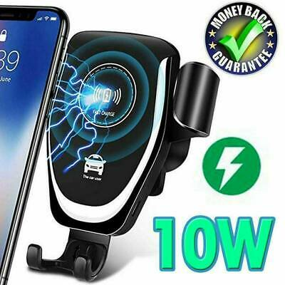 Qi Fast Charging Wireless Charger Car Mount Phone Holder Automatic Clamping NEW