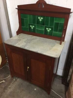 F31024 Vintage Marble Topped Wash Stand Washstand Cupboard Tiles Table