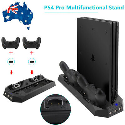 For PS4 Pro Accessories Vertical Stand Cooling Fan with Dual Charging Station AU