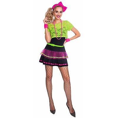 Adult's Ladies Neon 80's 90's Beads Rave Pop Diva Hen Party Fancy Dress Costume