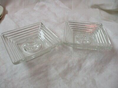 Vintage Anchor Hocking Manhattan Glass clear pair Candle Holders
