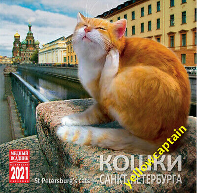 2021 wall calendar: Saint Petersburg cats wildcats Russia in English and Russian