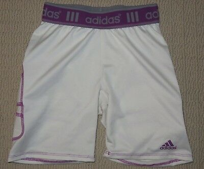 Girls Adidas Climalite Base Layer Compression Padded Shorts Youth Small White
