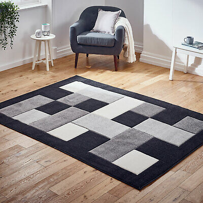 Modern Small to Large Thick Grey Black Boxes Rug Carved Design Rug at Low Cost