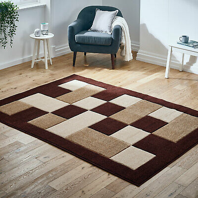 Brown Beige Modern Small to Large Thick Boxes Rug Carved Design Rug at Low Cost