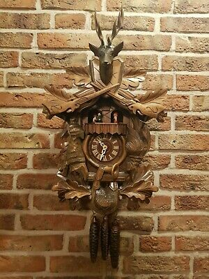 Vintage Black Forest Hunting Cuckoo Clock with Music box and dancing figurines