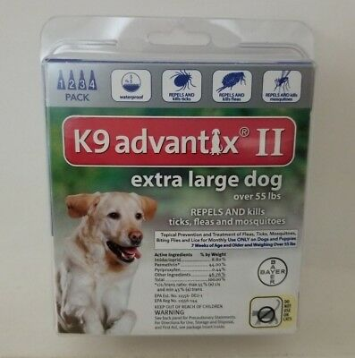 K9 Advantix II for  Extra Large Dogs over 55 lbs - 4 Pack - EPA Approved - Fast