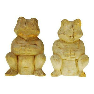 Pair of Vintage Rustic Hand Carved Wooden Frogs
