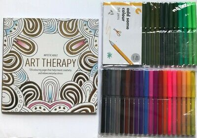 40 Felt Tip Colouring Pens Markers Draw Art Therapy + FREE Adult Colouring Book