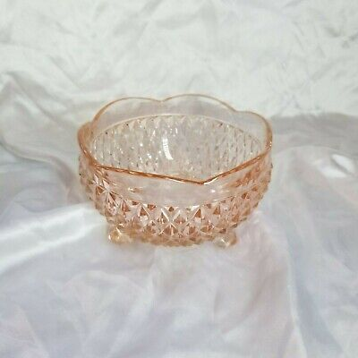 Vintage Indiana Glass Pink Depression  3 Foot Bowl Diamond Cut Scalloped Rim