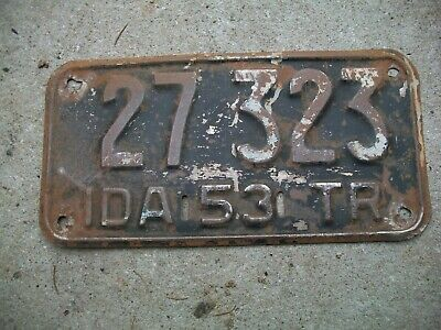 Antique Vintage RARE Nice Dated 1953 Idaho Trailer License Plate