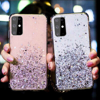 For Samsung Galaxy S8 S9 S10 Plus Epoxy Star Glitter Bling Soft Clear Case Cover