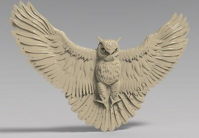 STL 3D Model # THE FLYING OWL #  for CNC Aspire Artcam 3D Printer 3D MAX