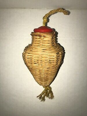Antique A.A. Vantine Asian Import wicker Cricket Cage hanging basket.