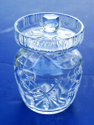 Waterford Fine Crystal Glass Honey Jam Condiment Sugar Jar EXCELLENT NEVER USED