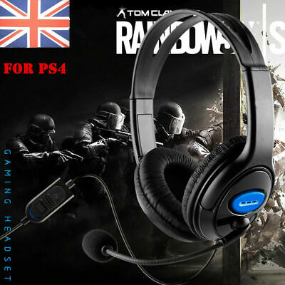 Deluxe Black Headset Headphone with Mic Volume Control For PS4 PlayStation 4 UK