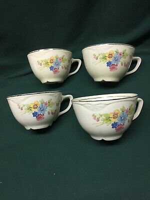 Lot Of 4 Homer Laughlin Virginia Rose Teacups 3 7/8""