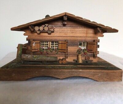 Vintage Wooden Musical Trinket box in the form of Blackforest Cuckoo Clock House