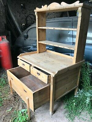 Original Antique English Country Pine Dresser With Lambing Draw Country Kitchen