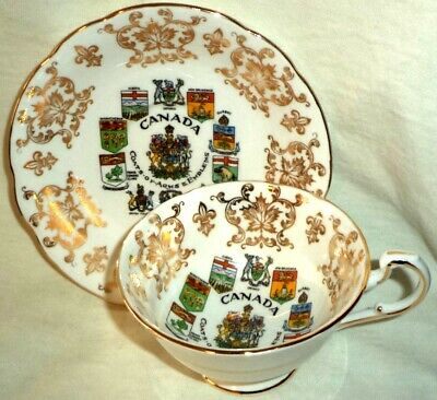 Paragon Footed Cup & Saucer Canada Provinical Coats of Arms Emblems  England