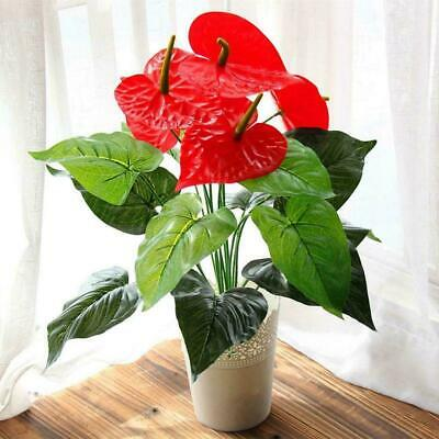 2*Bouquet Artificial Anthurium Fake Red Palm Bushes Plants Flower For Home sx