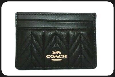 Coach Card Case Holder Black Quilted Leather with Coach Linen Dust Bag F73000