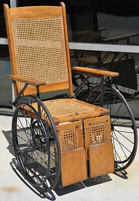 Antique Cane Back Wheelchair Oak Metal Three Wheel Chair Old 520 C Adjustable