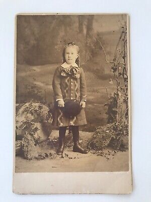 R.e. Atkinson Cabinet Card Photo Of Young Girl In Wooded Scene - Schenectady, Ny