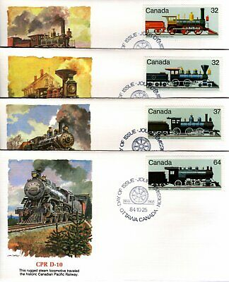 1984 #1036-9 Canadian Locomotives 2 - set of 4 FDC with Fleetwood cachet