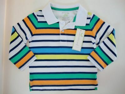 First Impressions Baby Boys White Striped Long Sleeve Polo Shirt 18 Months NWT