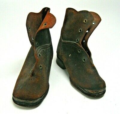 Rare 1850's Vtg Antique Victorian Baby/Child Brown Leather Lace Up Boots Shoes 5