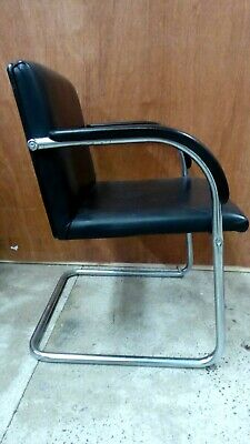 Vintage Cantilever Black Leather Reception Office Chair