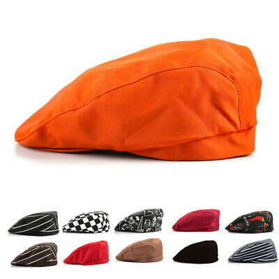Headwear Chef Hat Cap Flat Restaurant Waiter Travel Outdoor Cook Cotton Hotel