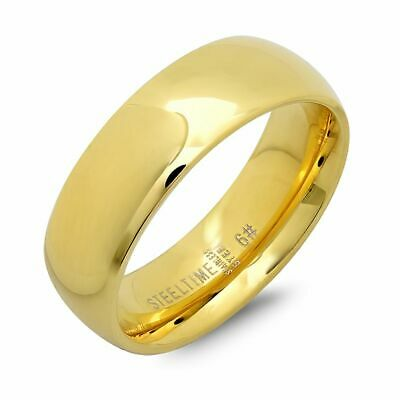 Yellow Gold Plated 6mm Stainless Steel Men's Wedding Band Ring