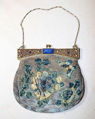 antique 1800's hand embroidered Chinese real stone gilt bronze clutch bag purse