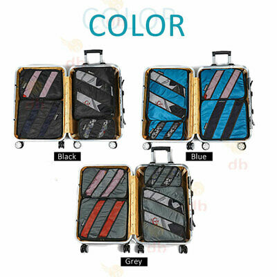 5 Packing Cubes Pouch Luggage Storage Travel Suitcase Clothes Organiser Shoe Bag