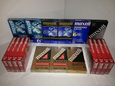 MAXELL vhs Video Cassette Tapes 6 Hrs T-120 Lot of 17 New.Silver, Gold - Sealed