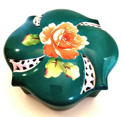 Antique Trinket Box Ucagco China Hand Painted Japan Deep Green Floral 6.25 inch