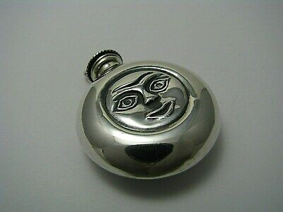 "STERLING SILVER PERFUME BOTTLE PENDANT SCENT FLASK ""Full Moon"" Mexico 1960s Rare"