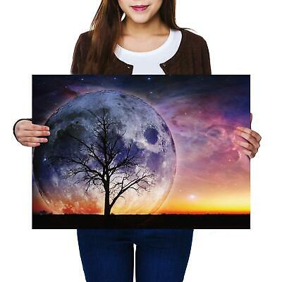 PAINTING STARRY NIGHT SKY CRESCENT MOON ART PRINT POSTER MP3192A