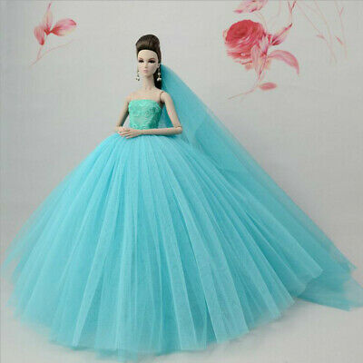 Dark Blue Fashion Party Dress/Wedding Clothes/Gown+Veil For 30cm Doll Dresses
