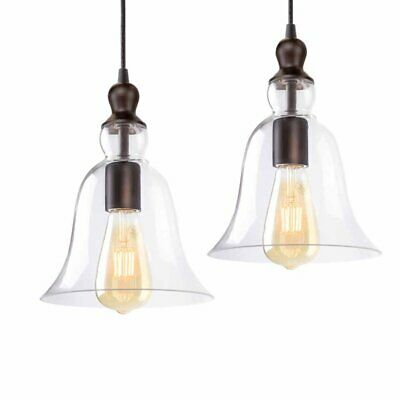 2 x Modern Industrial Vintage Bronze Metal Ceiling Pendant Glass Lamp Kitchen