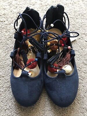 New Next Navy Lace Up Girls Ballerina Shoes with Zip back UK 11 Age 5-7