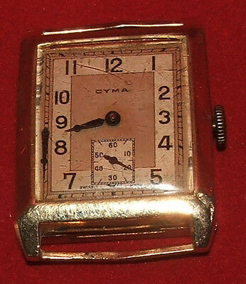 Vintage Art Deco Gold Watch,Dennison 9ct Gold Case, Cyma Swiss 15 Jewel Movement